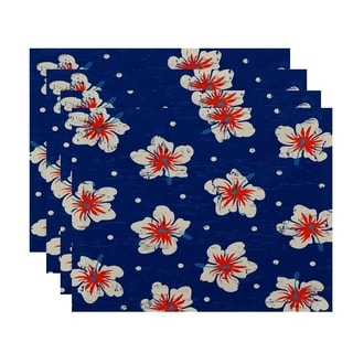 Hibiscus Blooms Floral Print Placemats (Set of 4)