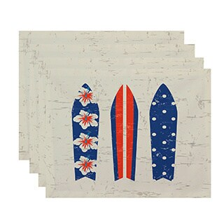 Triple Surf Geometric Print Placemats (Set of 4)
