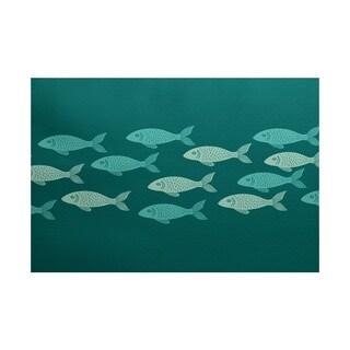 Fish Line Animal Print Rug (2' x 3')