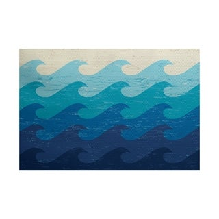 Deep Sea Geometric Print Rug (2' x 3')