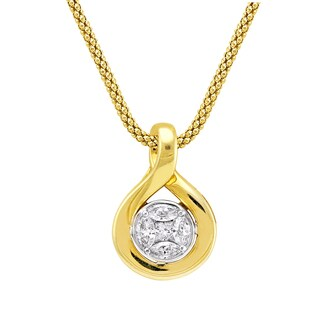 14k Yellow Gold 0.45ct TDW Diamonds Cluster Teardrop Necklace - White H-I