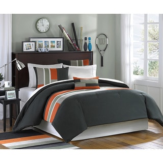 Mi Zone Circuit 4-piece Comforter Set Size Twin/TXL Size in Olive/ Orange (As Is Item)