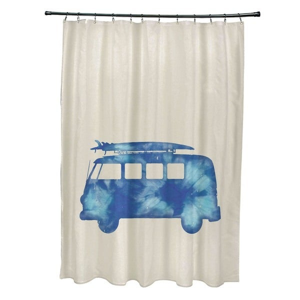 Beach Drive Geometric Print Shower Curtain