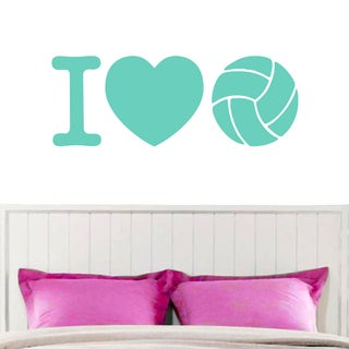 I Love Volleyball Wall Decal 36-inch x 13-inch