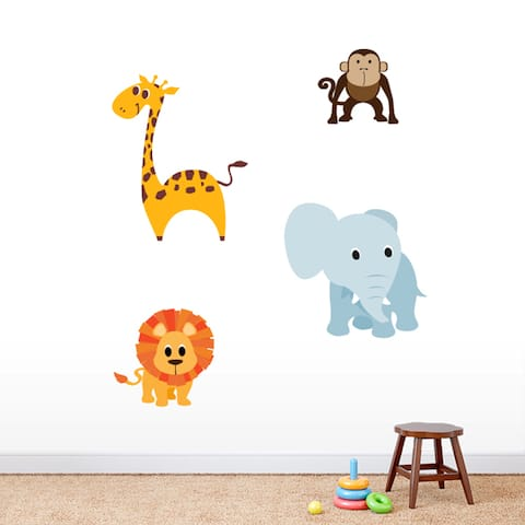 Printed Set of Jungle Animals Nursery Wall Decals