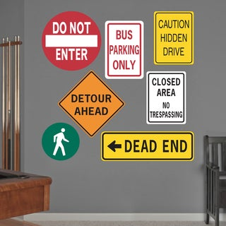 Printed Road Signs Wall Decals