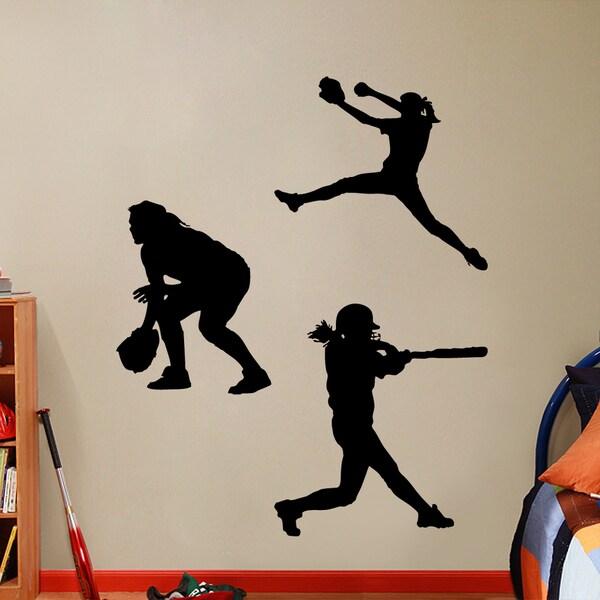 Softball Players Girls Small Wall Decal Set