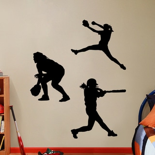 Softball Players Girls Large Wall Decal Set