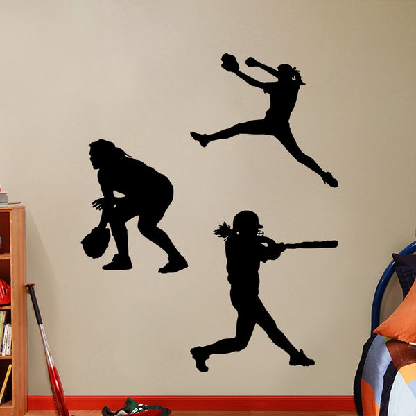 Softball Players Girls Large Wall Decal Set