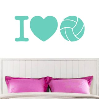 I Love Volleyball Wall Decal 48-inch x 18-inch