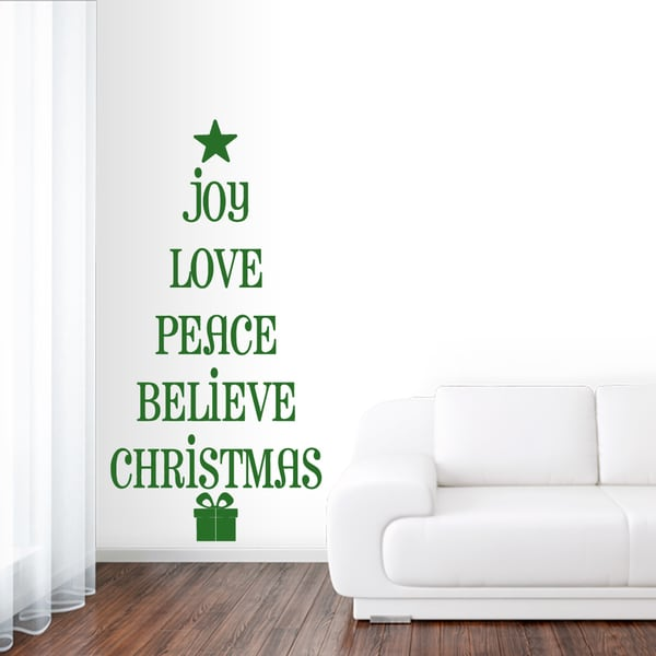 Christmas Tree Words Wall Decal 10 inches wide x 20 inches tall. Opens flyout.