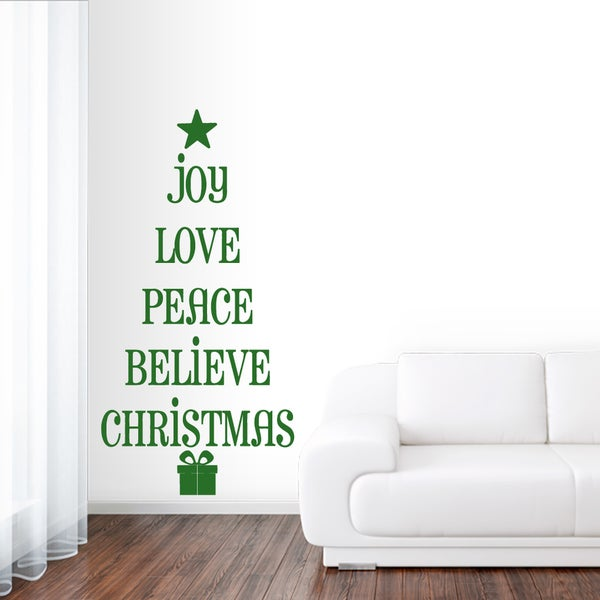 Christmas Tree Words Wall Decal 40 inches wide x 80 inches tall. Opens flyout.