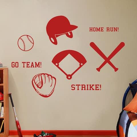 Large Baseball Wall Decals Set