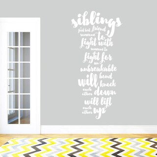 Siblings Wall Decal Quote 17-inch x 36-inch