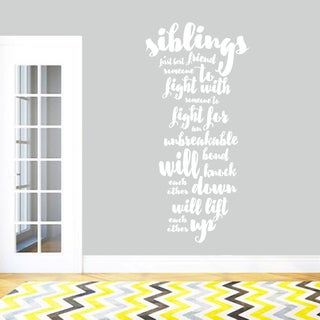 Siblings Wall Decal Quote 28-inch x 60-inch