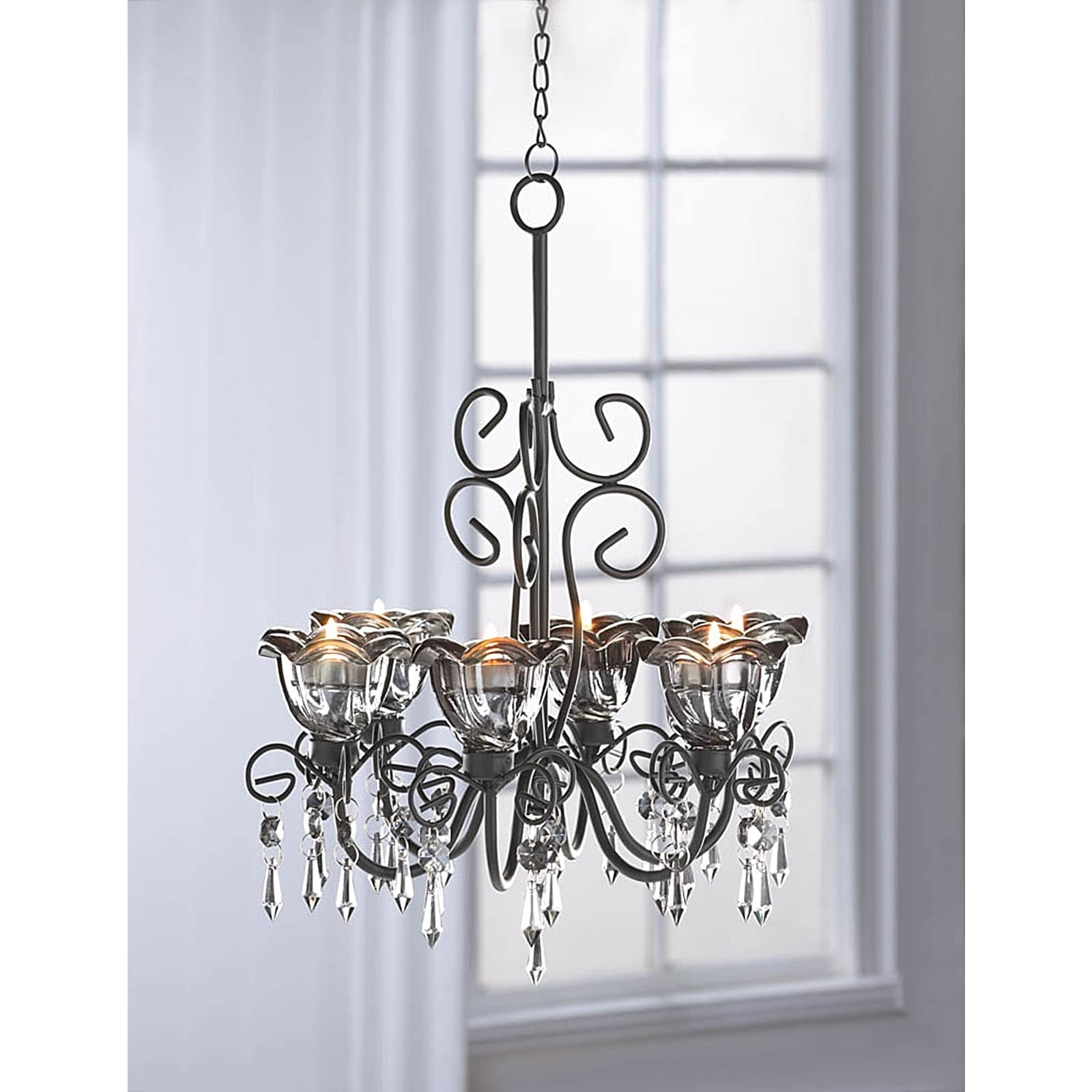Black 6-Candle Crystal and Candle Hanging Chandelier (Bla...