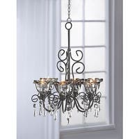 Black 6-Candle Crystal and Candle Hanging Chandelier