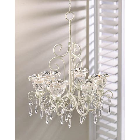 Elaborate Crystal and Candle Hanging Chandelier