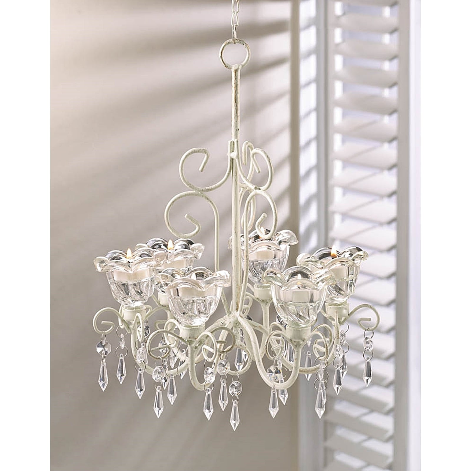 Elaborate Crystal and Candle Hanging Chandelier (Elaborat...