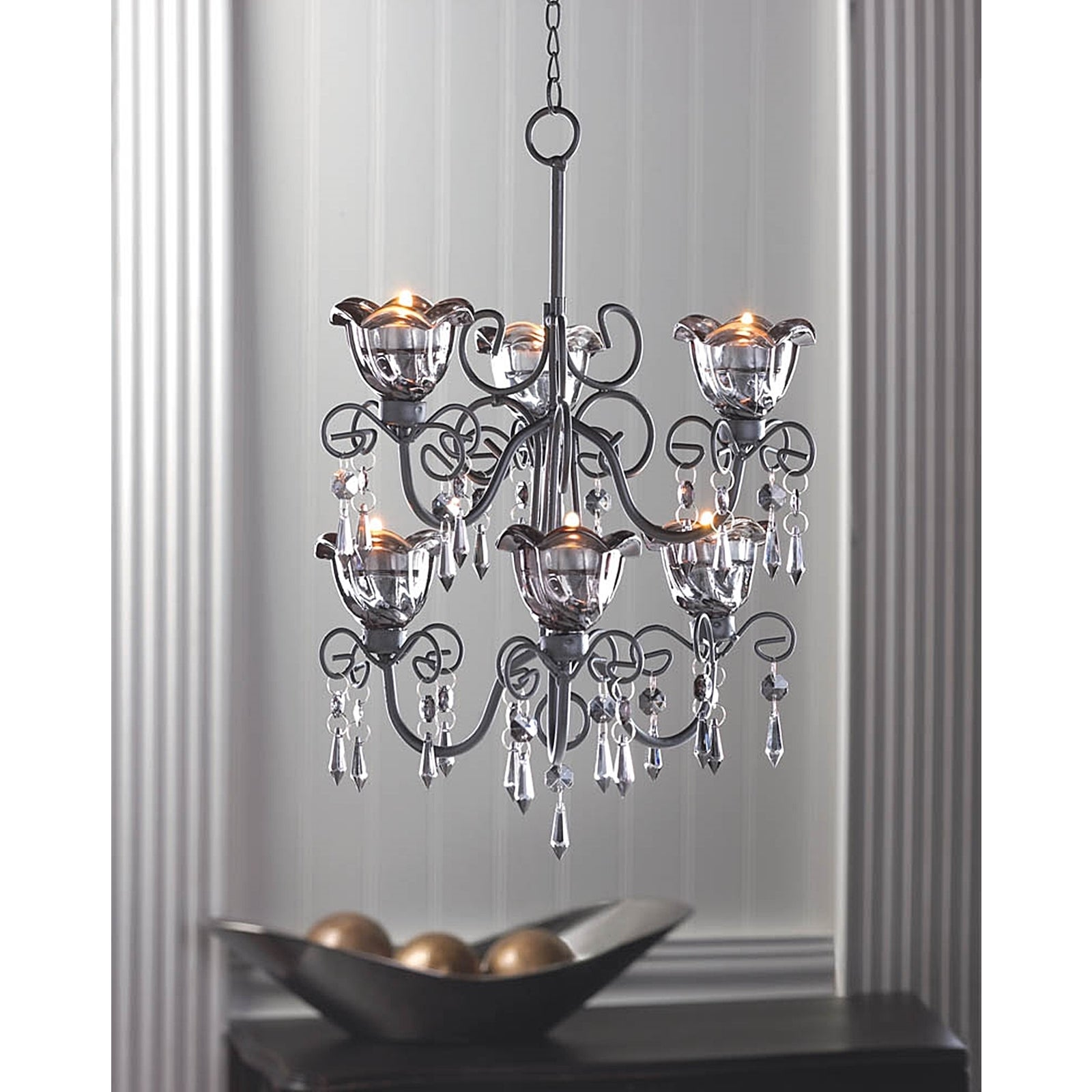 2-Tiered Black 6-Candle Hanging Chandelier (Glass)
