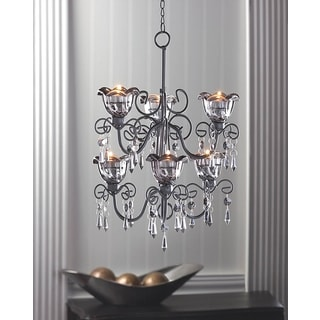 2-Tiered Black 6-Candle Hanging Chandelier