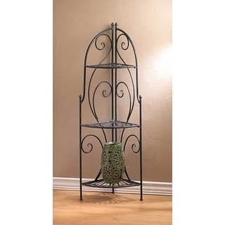 Scrolling Iron 3-Tier Corner Rack