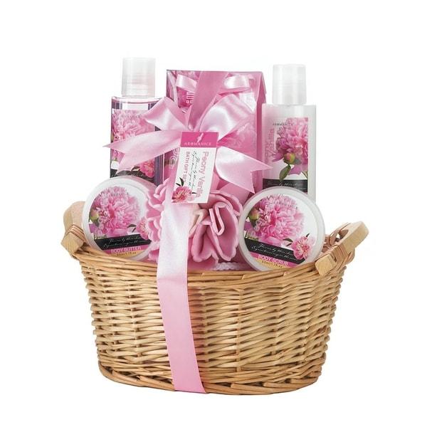 Spa Bath and Body Peony Vanilla Scent Gift Basket - Pink