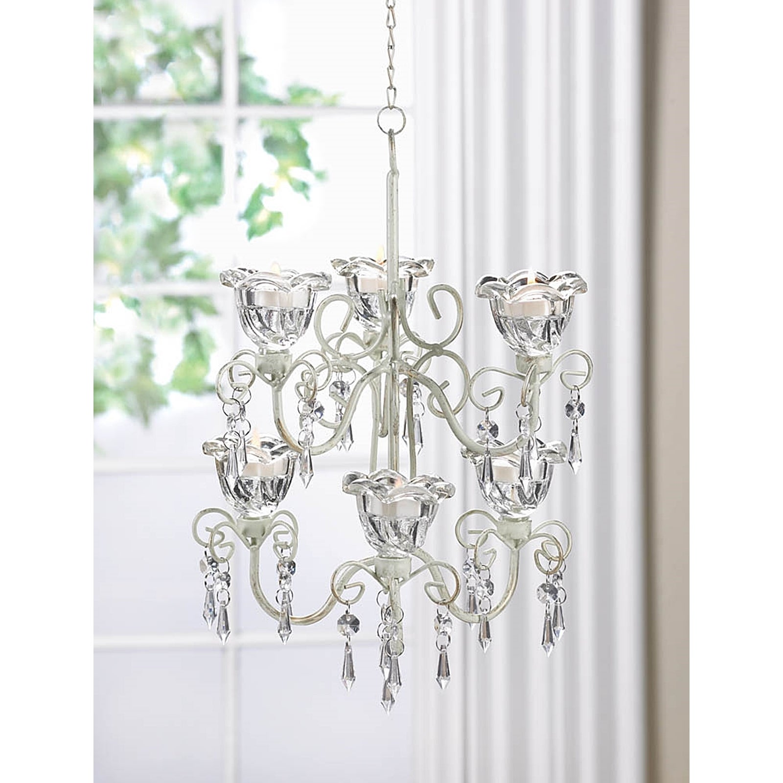 Elaborate Crystal and Candle Double Hanging Chandelier (E...