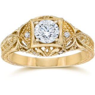 14k Yellow Gold 5/8 ct TDW Diamond Vintage Engagement Ring (I-J/I2-I3)