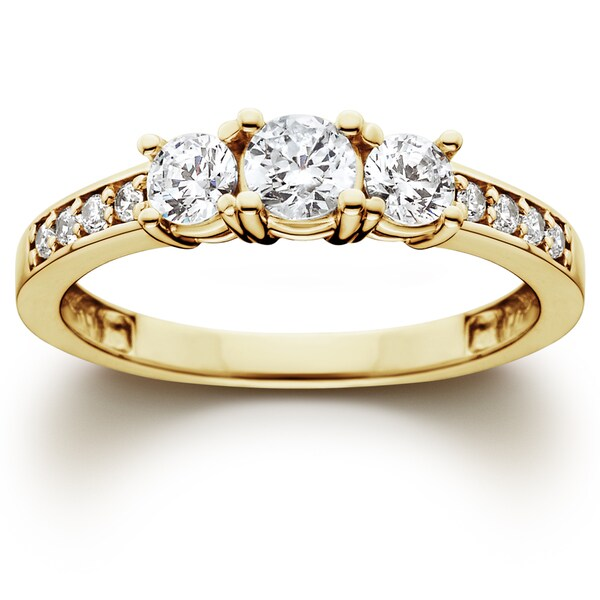 14k yellow gold 1ct tdw diamond three stone engagement ring - Three Stone Wedding Rings