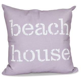 Beach House 16-inch Word Print Pillow