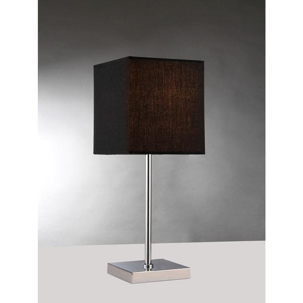 Charlisah 1-light Black Fabric Chrome Table Lamp