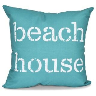 Beach House Word Print 18-inch Pillow