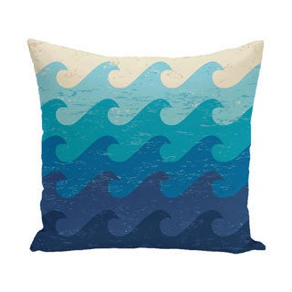 Deep Sea 18-inch Geometric Print Outdoor Pillow