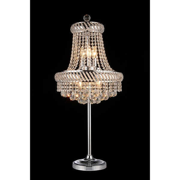 Harper 4 Light Crystal 36 Inch Chrome Table Lamp
