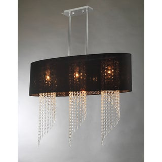 Levi 3-light Black Oval-shaped Crystal Chandelier