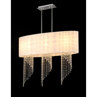 Chynee 3-light White Fabric Chrome Chandelier