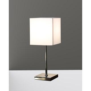 Clarissah 1-light White Fabric Chrome Table Lamp