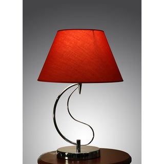 Christina 1-light Red Fabric 20-inch Chrome Table Lamp