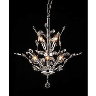 Leah 8-light Chrome Leaf-like Crystal Chandelier