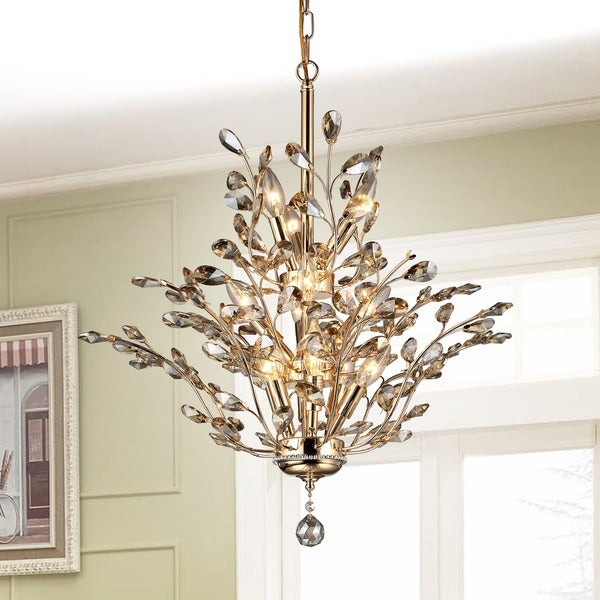 Shop Gisell Light Golden Leaflike Crystal Chandelier Gold - Chandelier leaves crystals