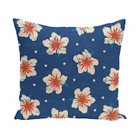 Hibiscus Blooms Floral Print 20-inch Outdoor Pillow