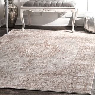 nuLOOM Traditional Intricate Medallion Beige Rug (9' x 12')