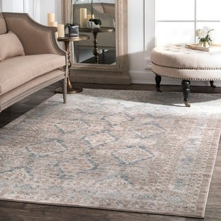 nuLOOM Traditional Ornamental Diamonds Taupe Rug (7'10 x 10'10)