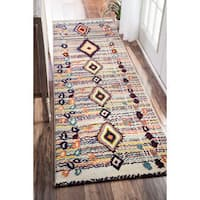 nuLOOM Moroccan Striped Diamonds Multi Runner Rug - 2'6 x 8'