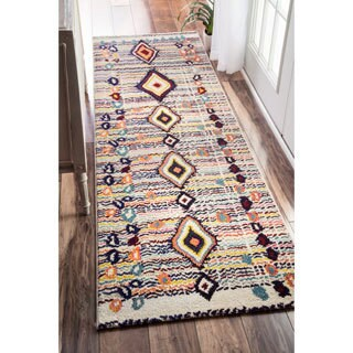 nuLOOM Moroccan Striped Diamonds Multi Runner Rug - 2' x 8'oval