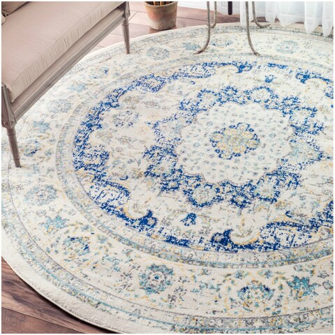 Maison Rouge Oryan Traditional Persian Vintage Blue Round Rug - 7'10 Round