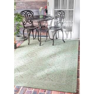 nuLOOM Vintage Stitched Damask Indoor/ Outdoor Green Rug (5'3 x 7'6)