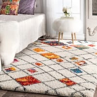 nuLOOM Sot and Plush Moroccan Color Burst Lattice Shag Multi Rug - 8' x 10'