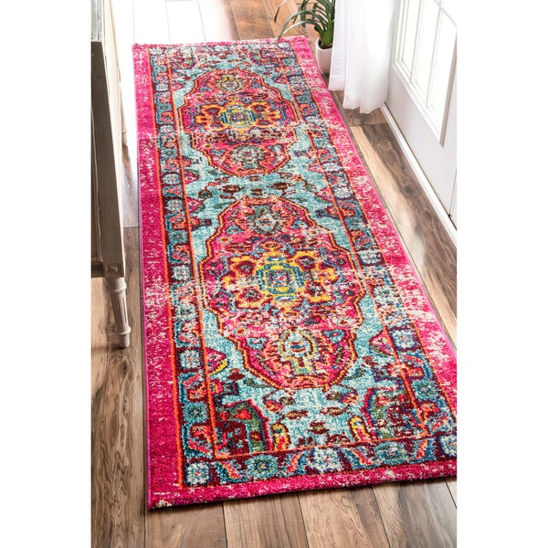 Nuloom Distressed Abstract Vintage Oriental Multi Runner
